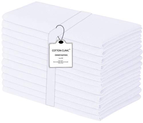 Baumwolle-Klinik 50x50 cm 12er-Set Stoffservietten, Weich Gemütlich Maschinenwaschbar 100% Baumwolle Servietten Weiss