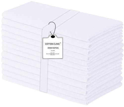 Clinique du coton Lot de 12 Serviettes de Table Coton - Lavable en Machine Serviettes de Table Tissu, Serviettes de Table Mariage - 44 x 44 cm Blanc