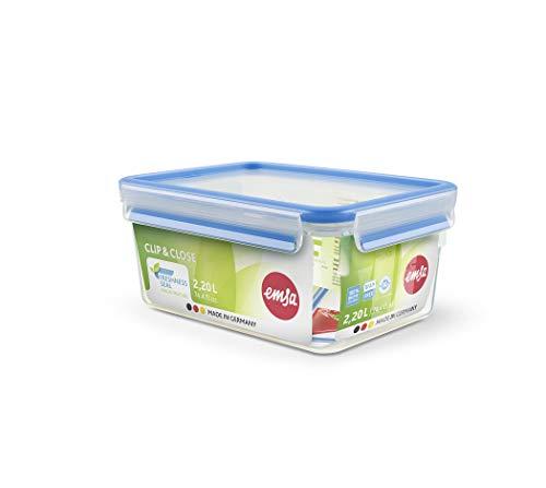 Emsa 508544 Boîte alimentaire rectangulaire avec couvercle, 2.20 Litres, Transparent/bleu, Clip & Close