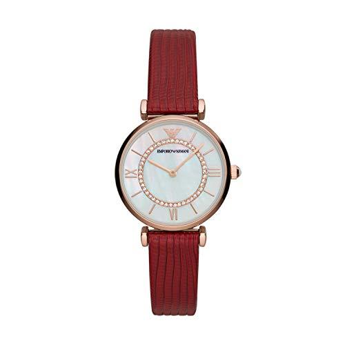 Emporio Armani Reloj Analógico para De Las Mujeres de Cuarzo con Correa en Piel Genuina AR11322