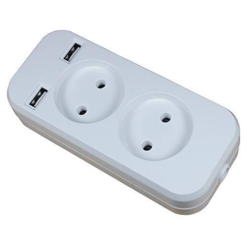 AYDQC Caja de Enchufe Tira de alimentación 2 Enchufe 1200W 250V, 5V 2A Pared múltiple portátil portátil 2 Puerto USB fengong