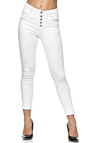 Elara Damen High Waist Slim Denim Jeans Knöpfe Chunkyrayan EL15-1 Weiss-42 (XL)