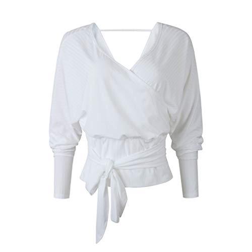 Damen Langarmshirt Langarm Kurzarm T-Shirt Casual Tunika Tops Damen Krawatte mit V-Ausschnitt und langärmligem Pullunder
