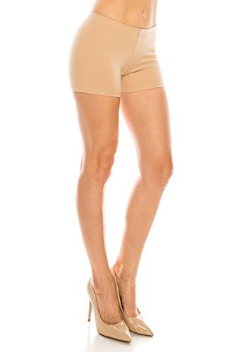 CNC STYLE A001 Women's Regular/Plus Soild Stretch Mini Dance Yoga Workout Underskirt Pant Cotton Booty Shorts Leggings Underwear,Large, Nude