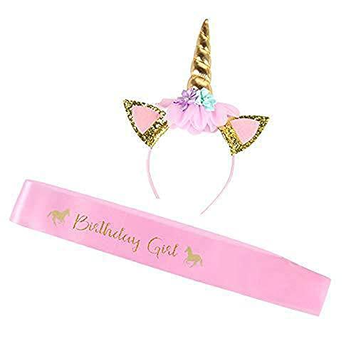 Unicornio Diadema y Cinturón cumpleaños niña rosa, Diadema de unicornio Diadema de flores de...
