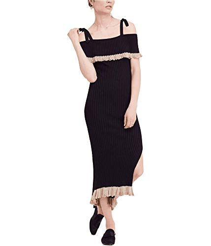 Free People Womens Au Chante Cold Shoulder Ribbed Cocktail Dress Black XS
