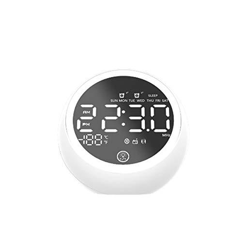 Yi-xir Fashion Design Radio Bluetooth 5.0 Altavoz de música LED Pantalla LED Doble Alarma Radio FM Altavoz estéreo con Fuente de alimentación de la UE Wireless Portable Travel (Color : White)