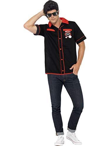 Luxuspiraten - Herren Männer 50er Jahre Kostüm mit Bowling Hemd mit Strike It Lucky Motiv, perfekt für Karneval, Fasching und Fastnacht, L, Schwarz