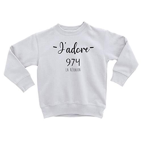 Fabulous Sweatshirt Enfant J'adore 974 La Reunion Departement France Region Saint Denis