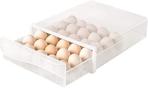 qwertyuiop Organizador de Huevos para Nevera Contenedores de Almacenamiento Congelador apilable Contenedores de Cocina Organización Transparente para cajón de gabinete y despensa Paquete de 3.