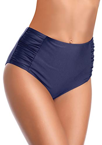 SHEKINI Women's Retro High Waisted Bikini Bottom Ruched Side Swim Short Tankinis (Deep Blue, Medium)