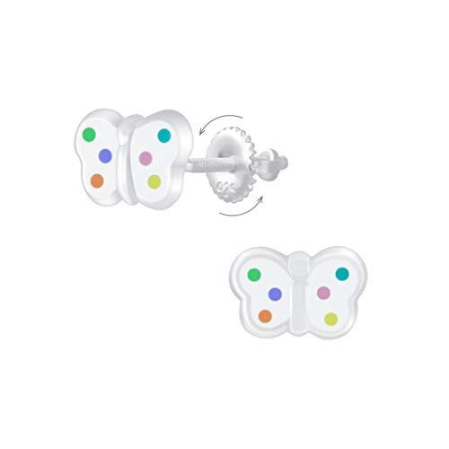 Laimons Pendientes infantiles de mariposa, 9 x 5 mm, color blanco, multicolor, con cierre de rosca...