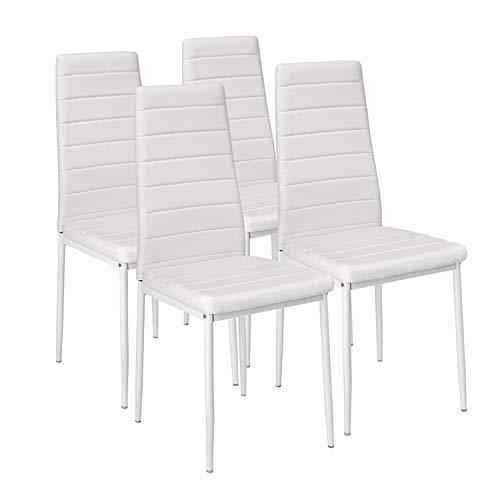 EBS My Furniture - Set di 4 sedie per sala da pranzo, cucina, in ecopelle, con schienale alto, con gambe in metallo rivestito, per casa, ufficio, cucina, nero/bianco (4 sedie, bianco)