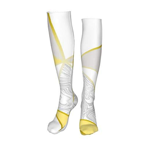 Vilico Lässige kniehohe Strümpfe, Overknee-Strümpfe, lange Socken, Zara-Marmor, metallisch, senffarben, goldfarben, Unisex, Sport für Männer und Frauen