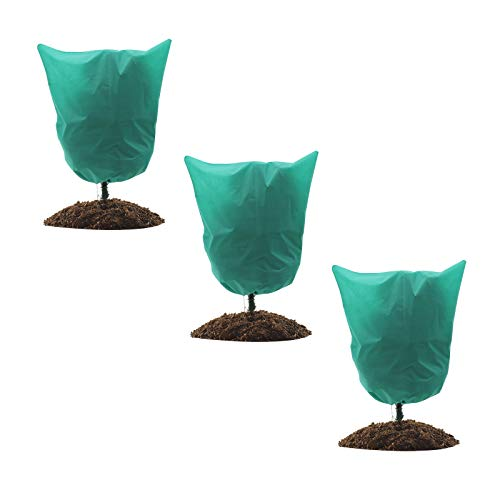 GROWNEER 3 Packs Thickened 1.77 oz 74 x 86 Inches Plant Covers Plant Protection Bags Frost Cloth with Drawstring and Zipper, Shrub Jacket Tree Cover for Cold Frost Freeze Bird Insect Prevention, Green