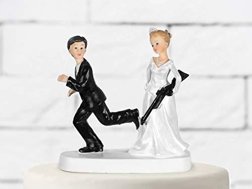 Partydeco Figurine pour pièce montée, mariée avec Fusil, Blanc et Noir, 13 cm