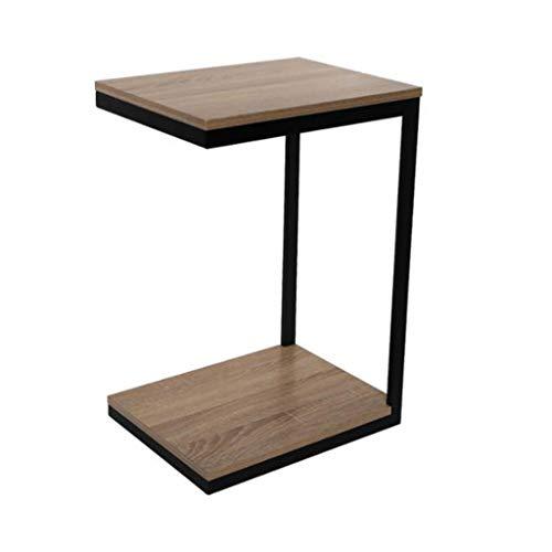 Mesa de Centro Mesa Auxiliar Mesa Centro Mesa de centro de hierro forjado en forma de C, mesa de sofá junto a la cama de la sala de estar de madera maciza, mesa de lectura, 45 * 35 * 66 cm Mesa de Cen