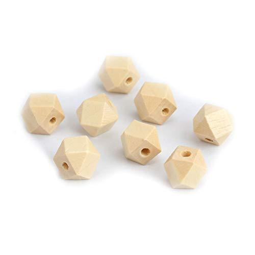 SiAura Material - 50 cuentas de madera de color natural de 12 mm x 12 mm con agujero de 3 mm I Forma geométrica I facetada I Para manualidades, enhebrar y pintar.