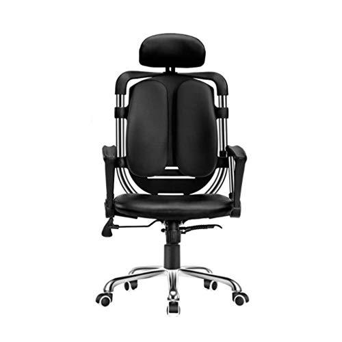 Rugleuning Alto Executive Office ergonomische stoel Heavy Duty Computer Chair Bonded leer verstelbare bureau draaistoel comfortabele rolstoel (zwart)