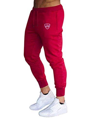 Tomwell Pantalon de Jogging Homme Casual Mode Training Pants Long Cargo Pantalon De Survêtement Taille Élastique Couleur Unie Rouge X-Small