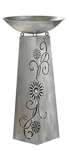 GILDE Schalenständer Blütenranke antik Silber mit Edelstahlkugel D 4,5cm, bestehend aus Ständer + Schale H= 117,0 cm Durchm. 58,0 cm 68780