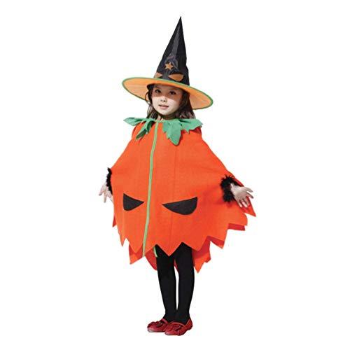 2 Pezzi Costume da Zucca di Halloween per Bambini Bambini Abiti di Halloween Vestiti Cappello di Zucca Mantello Forniture Cosplay per Bambini Bomboniera per Bambini (Arancione)