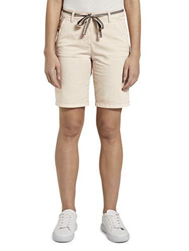 TOM TAILOR Damen Hosen & Chino Relaxed Chino Bermuda Shorts mit Stoffgürtel Soft Vanilla,36,23304,3000