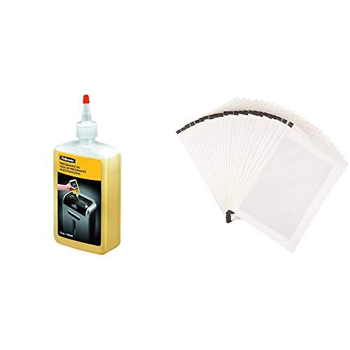 Fellowes - Aceite lubricante para destructoras de papel, 355 ml & Amazon Basics - Hojas para lubricar y afilar trituradoras - Pack de 24