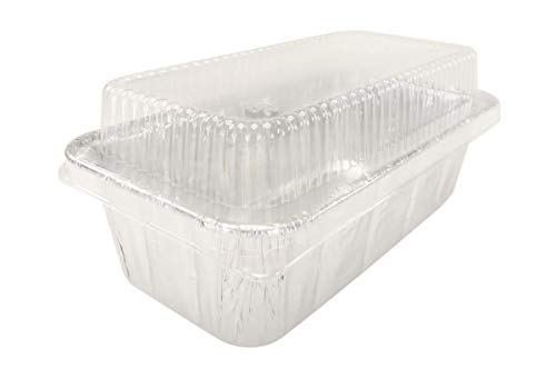 Disposable Aluminum 2 Lb. Loaf Pan with Clear Plastic Snap on Lid #5100P (50)