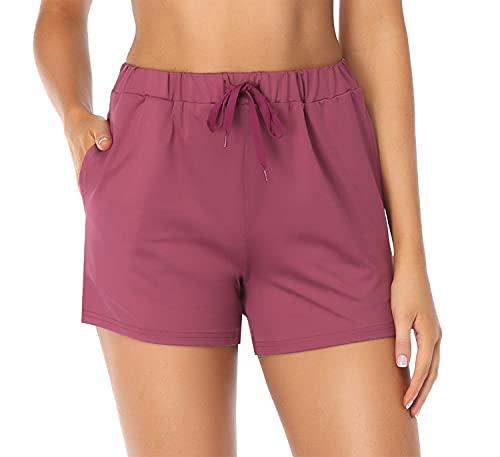 Jhsnjnr Women Elastic Waist Soft Lounge Shorts Casual Pajama Shorts with Pockets Maroon