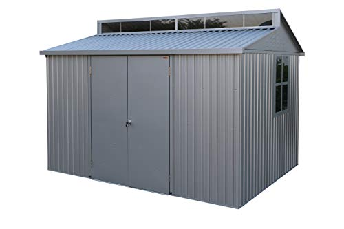 Duramax Aluminium 10 x 8 Garden Storage Shed | All-Weather Durable and Waterproof Outdoor Shed | Store Bikes, Tools, BBQ | Includes Skylight, Foundation, Window on Side and Lockable Double Doors
