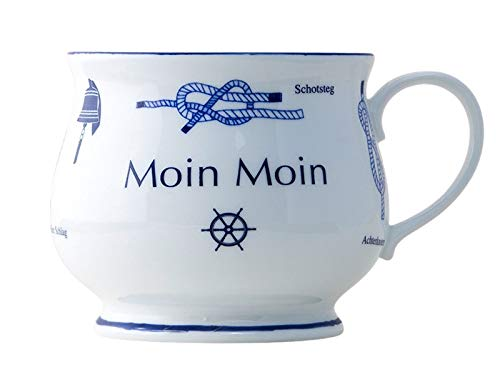 Buddel-Bini Moin Moin Premium Kaffeebecher mit Seemannsknoten bauchig Knotenbecher Souvenir Teetasse Tee Becher Andenken