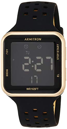 Armitron Sport Unisex Gold-Tone Accented Digital Chronograph Black Perforated Silicone Strap Watch, 40/8417GBK