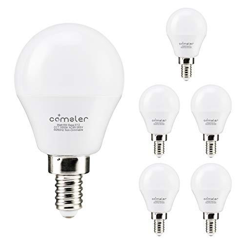 Comzler LED Ceiling Fan Bulb 60W Equivalent, Daylight 5000K, Candelabra Base G45 Globe Light Bulbs 600lm for Bedroom, Living Room, CRI>80, Non-dimmable, 6 Pack