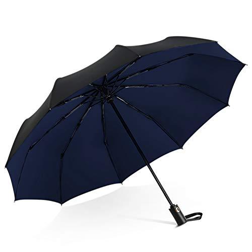 DORRISO Homme Femme Automatique Parapluie Pliant Coupe-Vent Entreprise Voyage Ombrelle étanche Portable Parapluie de Voyage Bleu