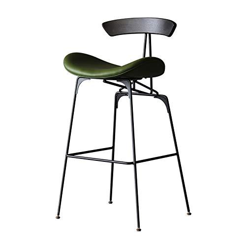 PU-leer barkruk met rug- en voetsteunen, bruin, moderne barkruk, stoel, hoogte voor Pub Coffee Home Dinning keuken 75cm groen