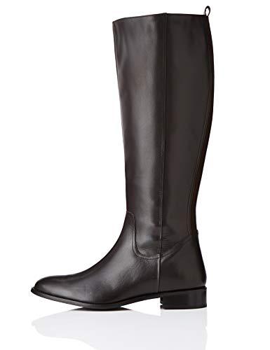 find. Flat Knee Length Leather Botas Altas, Marrón Brown, 40 EU