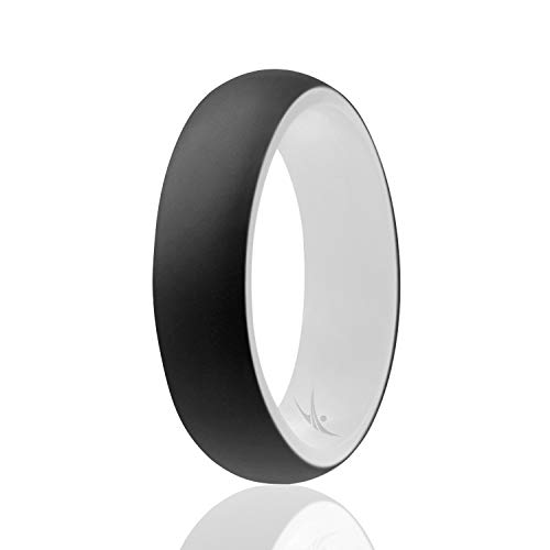 ROQ Silicone Wedding Ring for Women - Affordable Silicone Rubber Rings - Dome Style - Safe, Flexible, Light with Classic Design - White-Black - Size 7