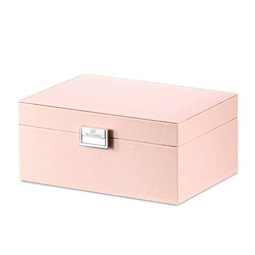 Caja de Joyas Alta capacidad de espejo joyería Caja Organizador Con bloqueada, PVC blando cuero de la joyería de madera decorativa Caja de almacenamiento for las pulseras ewelry organizador del almace