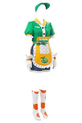 prettycos Damen Spielkostüm Mei Cosplay Uniform Stoff Grün Outfit Halloween Maid Cosplay Kostüm-Set Gr. Weiblich-L, grün