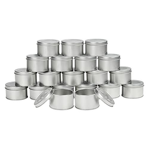 Kurtzy Cajitas de Metal Redondas Aluminio con Tapa (Pack de 20) 6,5 x 4 cm – Set Caja Aluminio Vacía Almacenaje de Viaje – Contenedores para Manualidades, Cosméticos, Bálsamo Labial, Especias, Velas