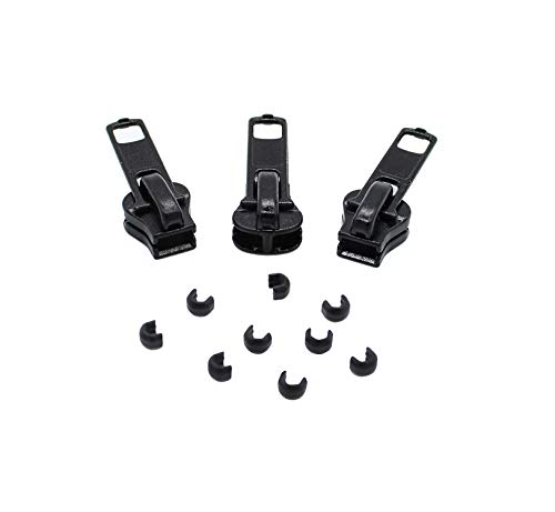 ZipperStop Zipper Repair Kit- YKK #5 Vislon Plastic - 3 Universal Sliders and Stops