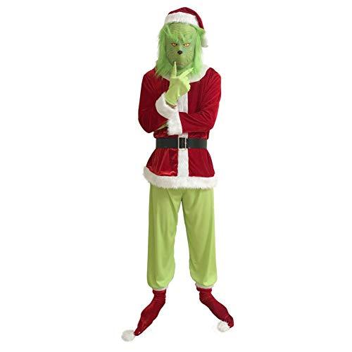 Balai Grinch Cosplay Kostüm, Grüne Maske Weihnachtsmütze Socke Komplett Set Outfits Weihnachtsstütze