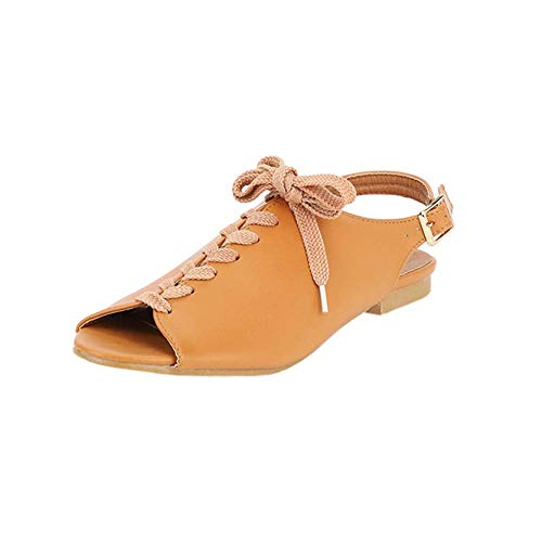 iFOMO Women's Low Heels Lace-Up Fashion Casual Sandals Brown US 10