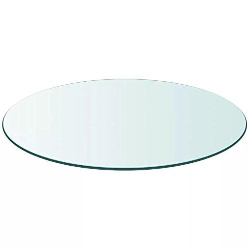 vidaXL Tischplatte aus gehärtetem Glas rund 900 mm Glastisch Tisch Glasplatte