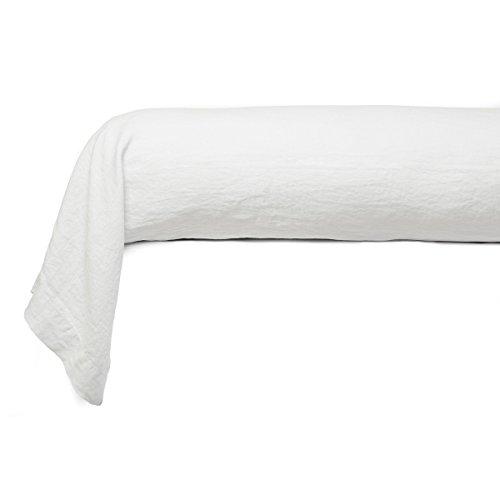 Tradition des Vosges Taie de traversin Unie Lin Lavé 86 x 185 cm Blanc