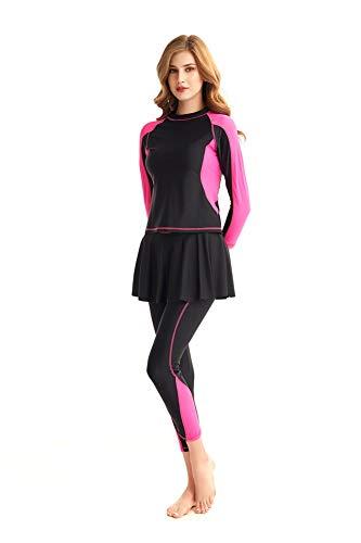 Damen Ganzkörper Badeanzug Rash Guard Lange Ärmel Langes Bein Badebekleidung mit Swim Rock Set (Red, Small)