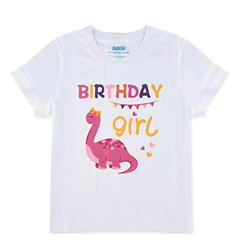 Dinosaurio Camiseta Cumpleaños Bebé Niña 2 año Cumpleaño Fiesta Manga Corta 100% Algodón Blanca Dino Impreso Tops