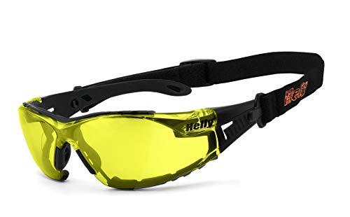 HELLY® - No.1 Bikereyes® | Bikerbrille, Motorrad Sonnenbrille, Motorradbrille | beschlagfrei, winddicht, bruchsicher, Polster & Band | TOP Tragegefühl | Brille: moab 5