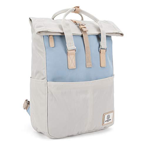 SEVENTEEN LONDON – Moderner und stilvoller 'Soho' Rucksack in cremefarben & hellblau mit einem klassischen gefalteten Roll Top Design – perfekt für 13-Zoll-Laptops